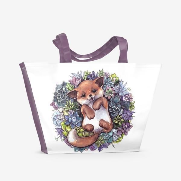 Пляжная сумка «Лис в суккулентах»