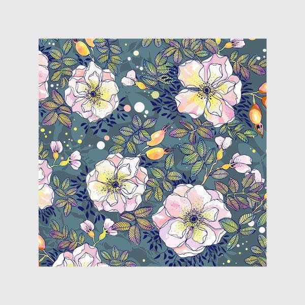 Шторы «Цветущий шиповник. Blooming dog rose»
