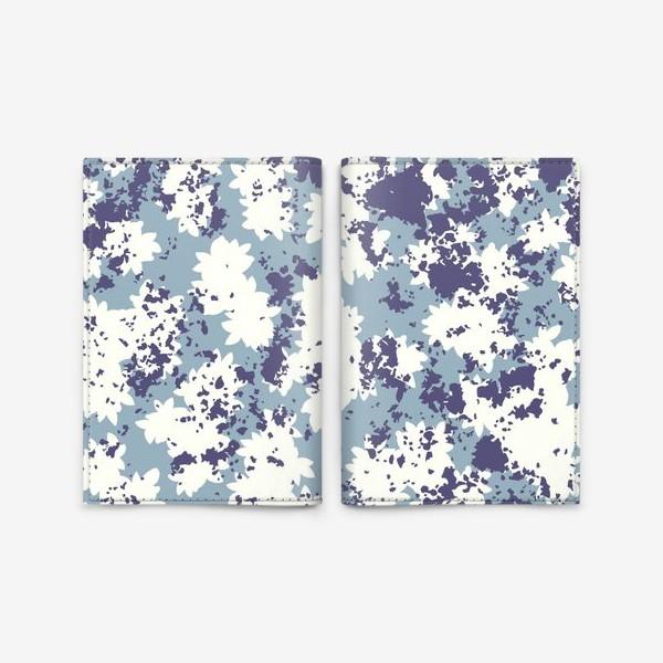 Обложка для паспорта «Синий цветочный камуфляж»