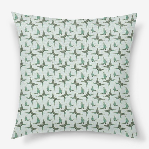 Подушка «Бабочки. Зеленый паттерн»