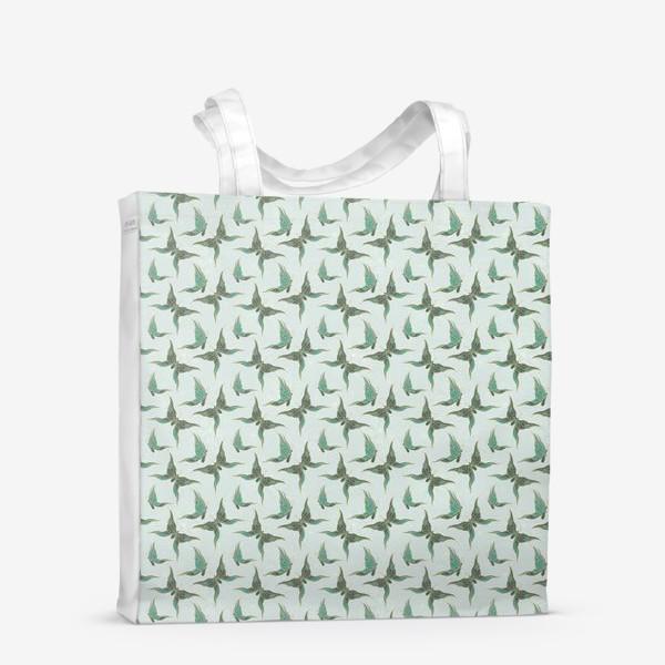 Сумка-шоппер «Бабочки. Зеленый паттерн»
