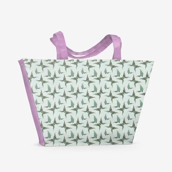 Пляжная сумка «Бабочки. Зеленый паттерн»