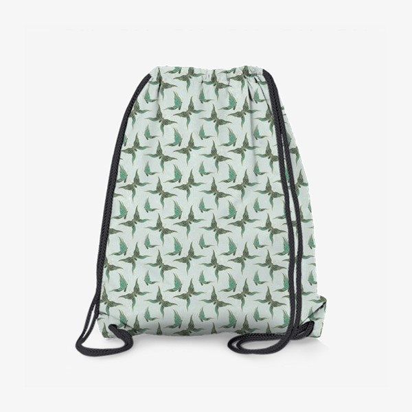 Рюкзак «Бабочки. Зеленый паттерн»
