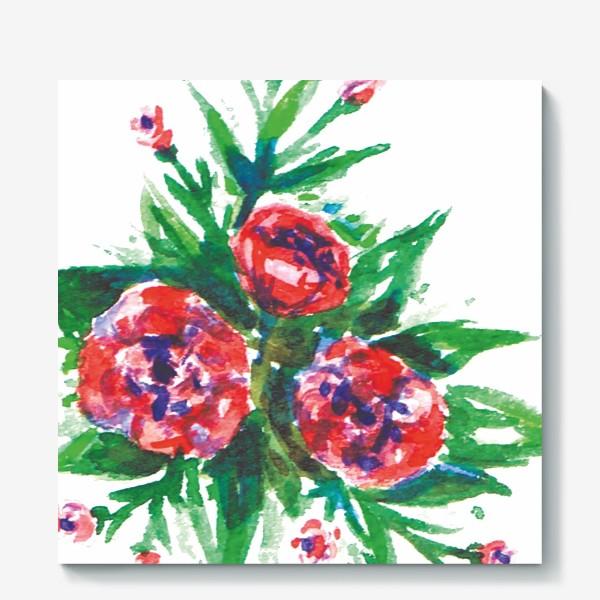 Холст «Цветы акварелью»
