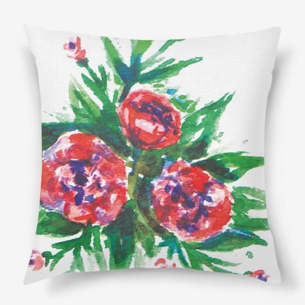 Подушка «Цветы акварелью»