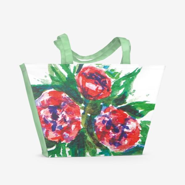 Пляжная сумка «Цветы акварелью»
