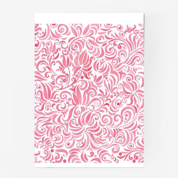 Постер «Russian watercolor red pattern»