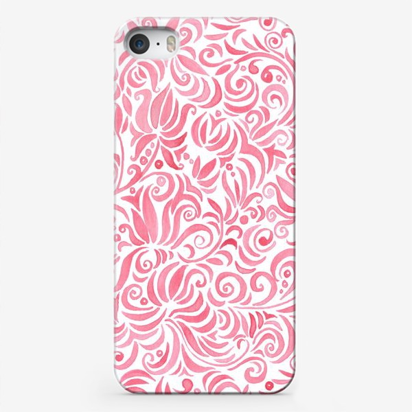 Чехол iPhone «Russian watercolor red pattern»