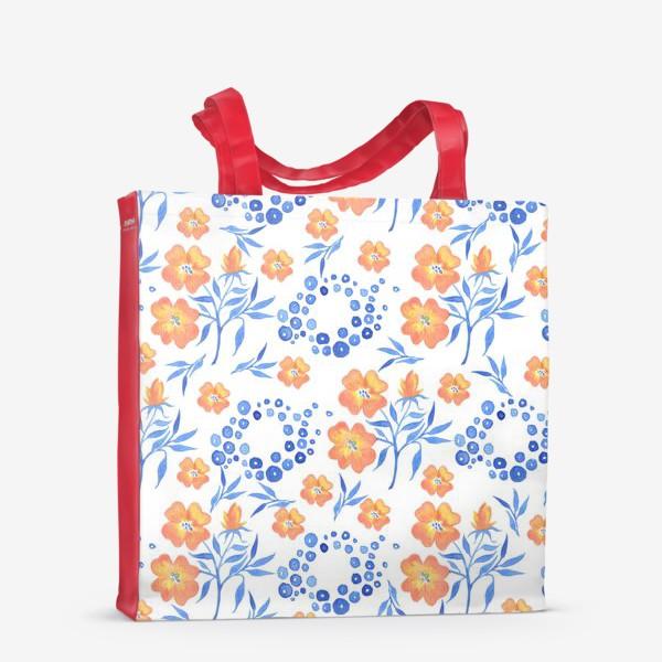 Сумка-шоппер «Оранжевые цветы»