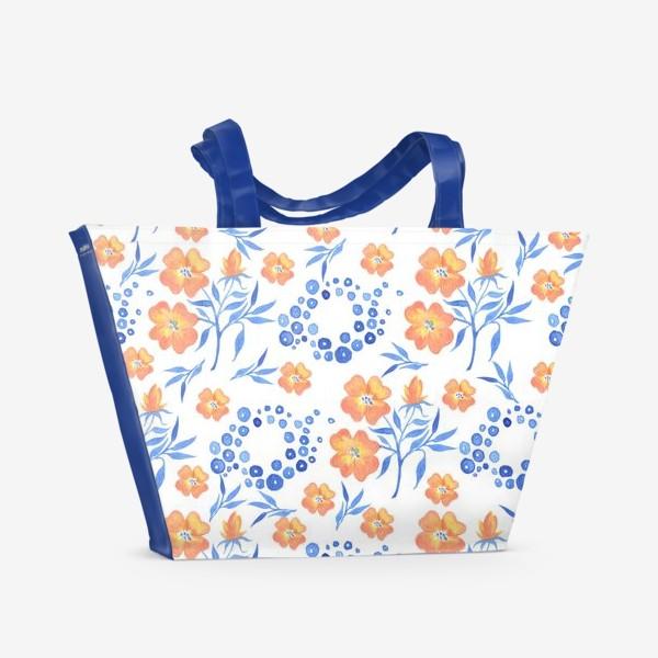 Пляжная сумка «Оранжевые цветы»