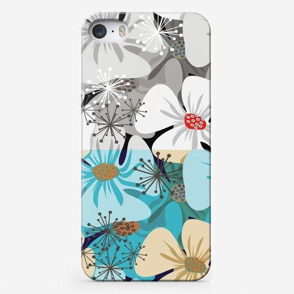 Чехол iPhone «Бело-голубые маки»