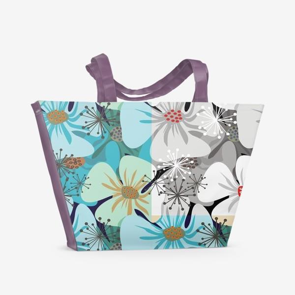 Пляжная сумка «Бело-голубые маки»