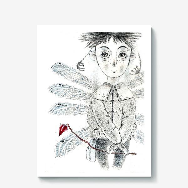 Холст «Тебе, Мое сердечко. Крылатый мальчик.»
