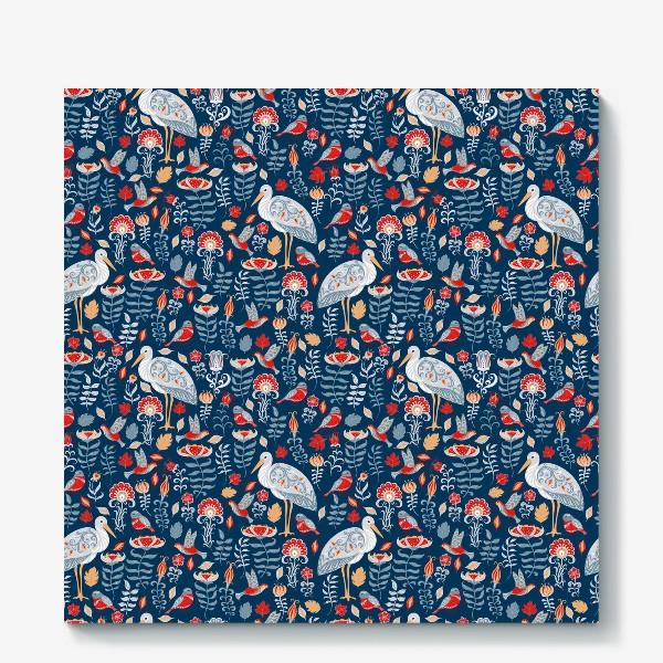 Холст «Декоративный паттерн с аистами, колибри, цветами на синем фоне. »