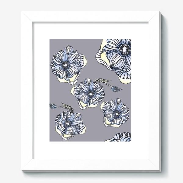 Картина «Цветок фантазия паттерн голубой»