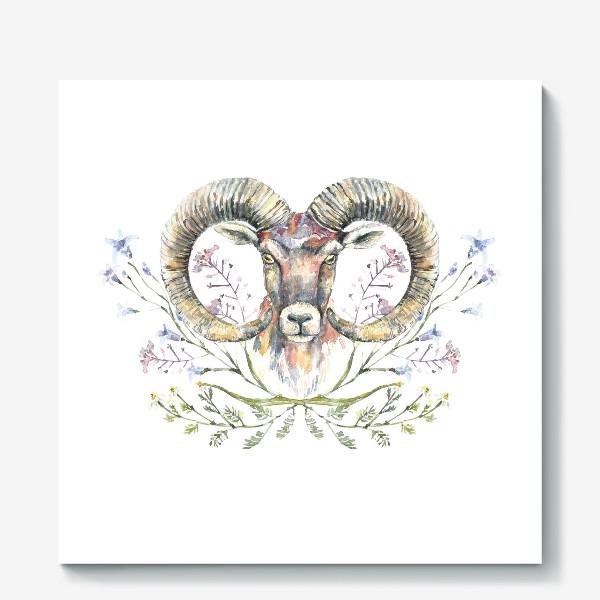 Холст «Акварельный портрет барана с букетом из полевых цветов»