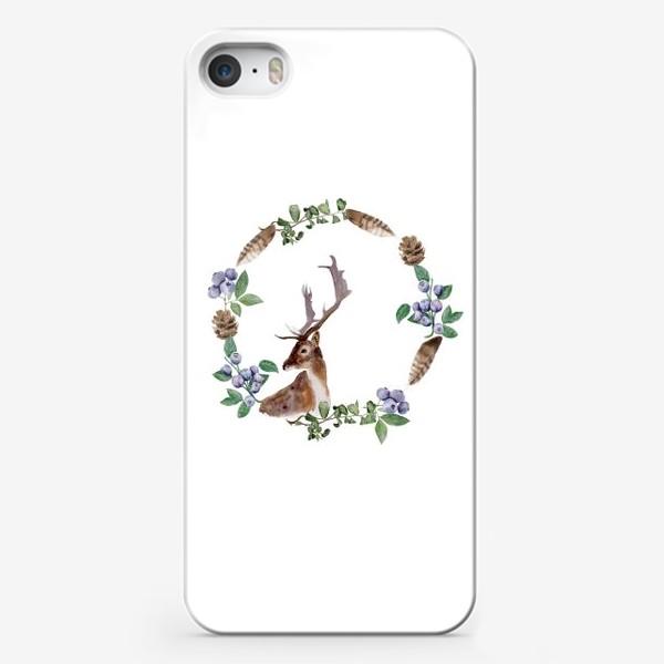 Чехол iPhone «Венок с оленем»