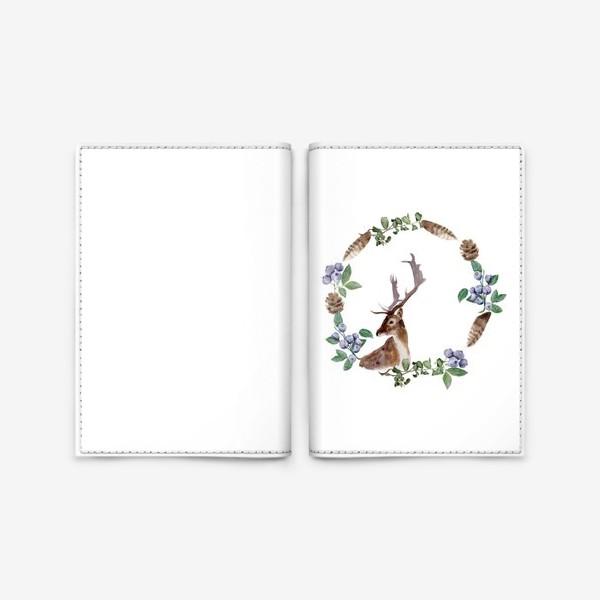 Обложка для паспорта «Венок с оленем»