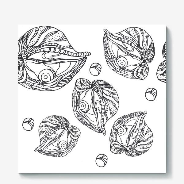 Холст «Устрицы и жемчуг раскраска паттерн черно-белый»