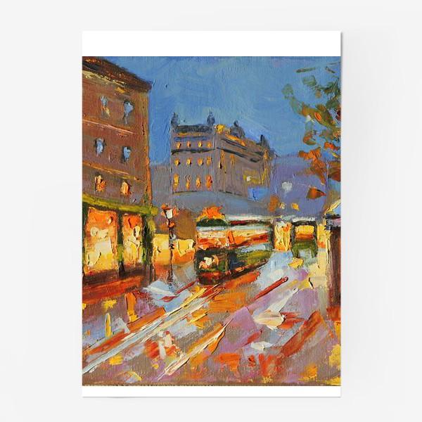 Постер «Трамвай в Праге живопись маслом»