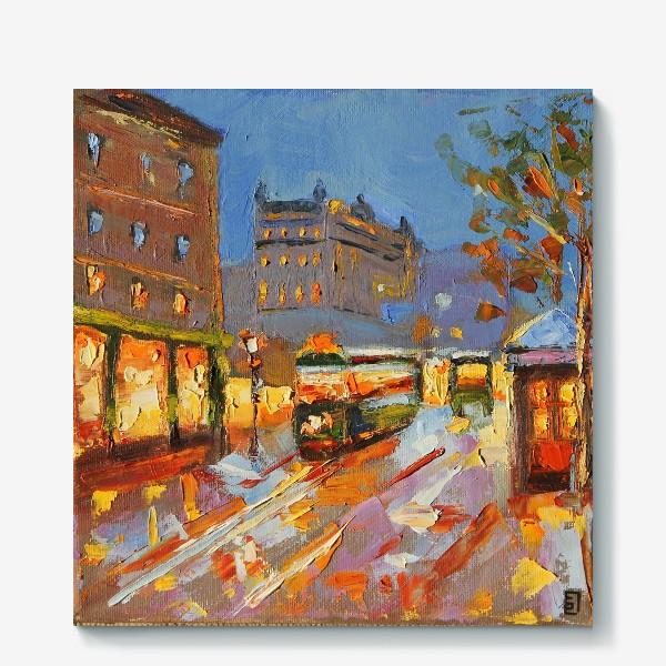 Холст «Трамвай в Праге живопись маслом»
