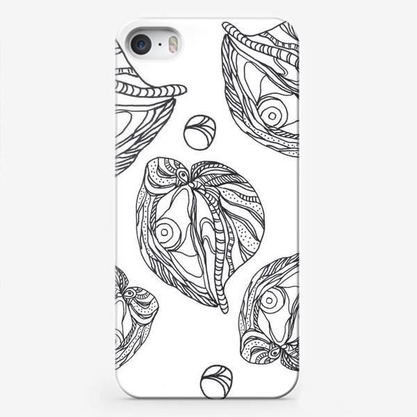 Чехол iPhone «Устрицы и жемчуг раскраска паттерн черно-белый»