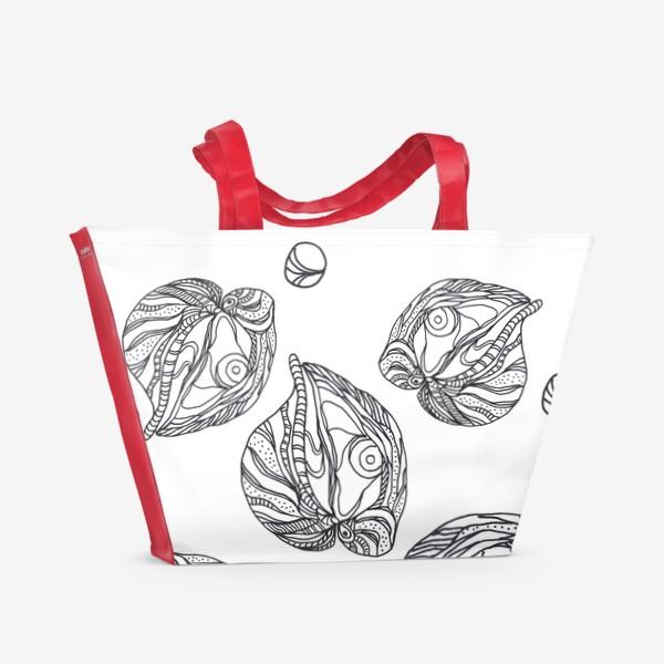 Пляжная сумка «Устрицы и жемчуг раскраска паттерн черно-белый»