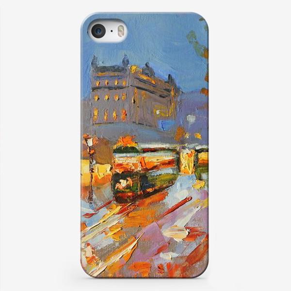 Чехол iPhone «Трамвай в Праге живопись маслом»