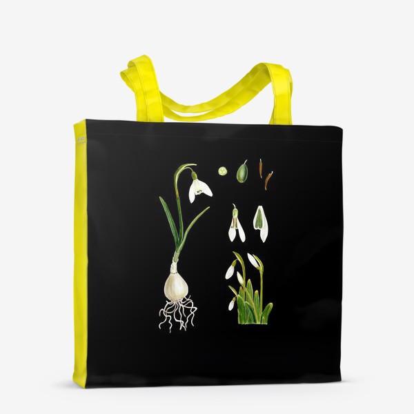 Сумка-шоппер «Подснежники на черном»
