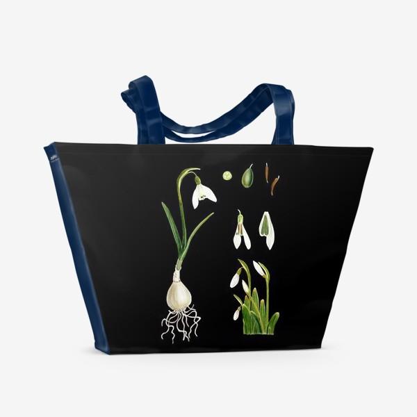 Пляжная сумка «Подснежники на черном»