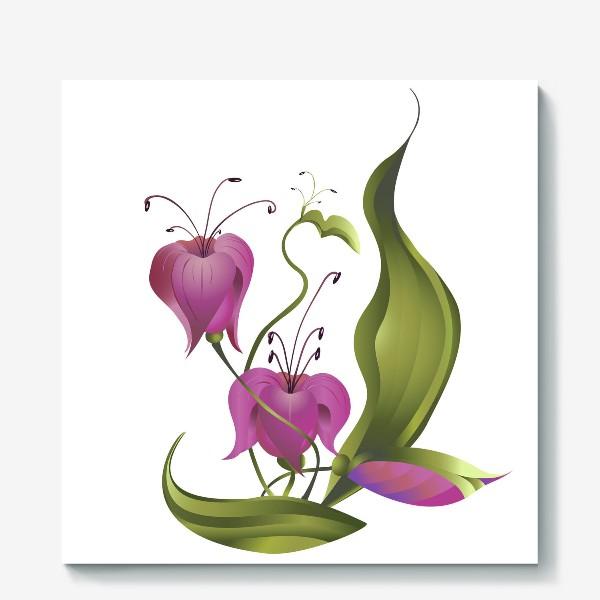 Холст «Весенние розовые цветы »