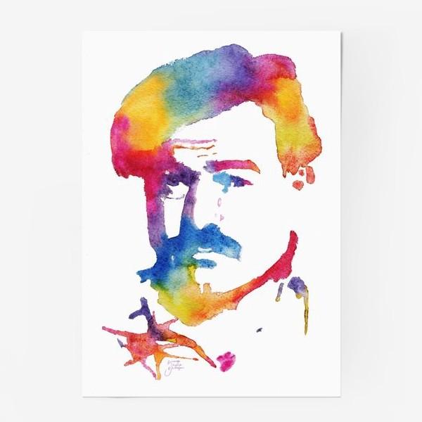 Постер «Хэмингуэй. Акварельный портрет. Hemingway Watercolor Watercolour»
