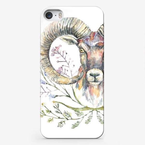 Чехол iPhone «Акварельный портрет барана с букетом из полевых цветов»
