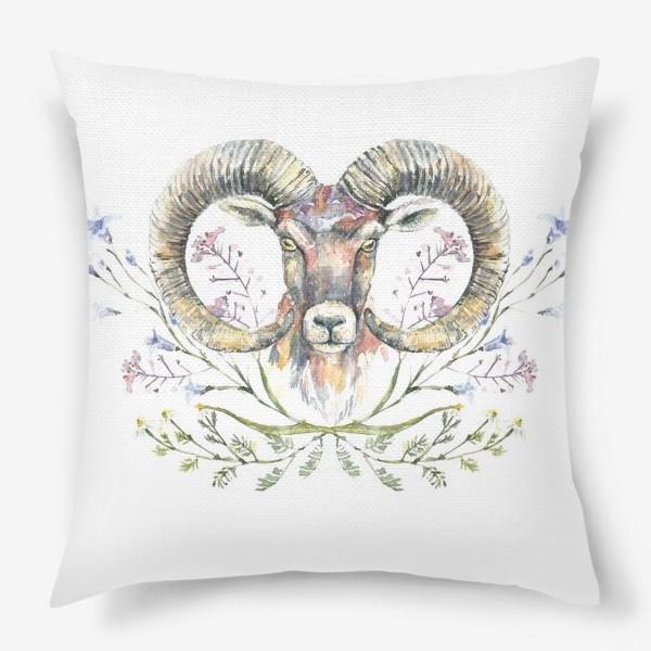 Подушка «Акварельный портрет барана с букетом из полевых цветов»