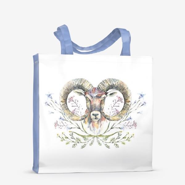 Сумка-шоппер «Акварельный портрет барана с букетом из полевых цветов»