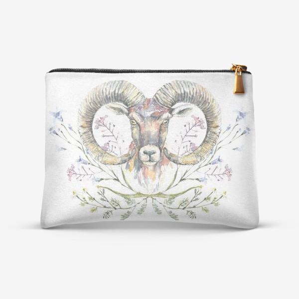 Косметичка «Акварельный портрет барана с букетом из полевых цветов»