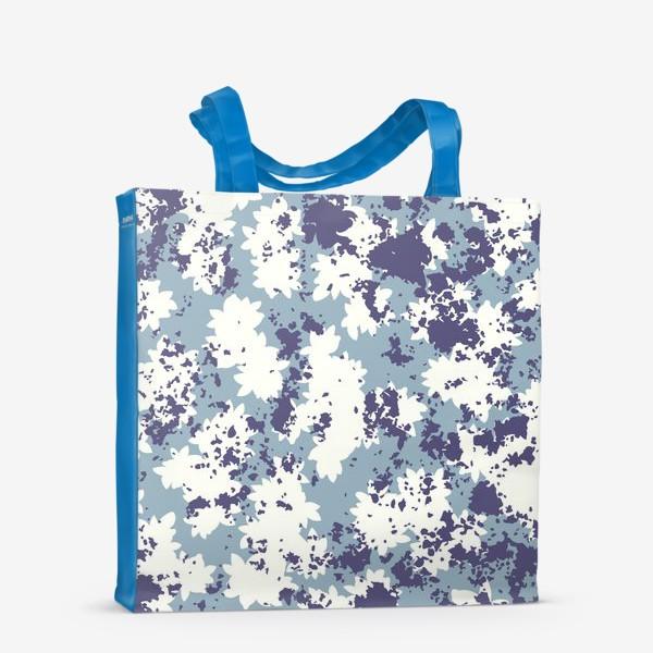 Сумка-шоппер «Синий цветочный камуфляж»