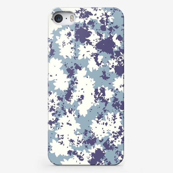 Чехол iPhone «Синий цветочный камуфляж»