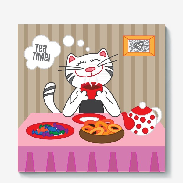 Холст «Кот пьёт чай»