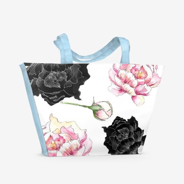 Пляжная сумка «Пионы. Черный и розовый. Паттерн. Акварель и графика»