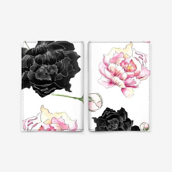 Обложка для паспорта «Пионы. Черный и розовый. Паттерн. Акварель и графика»