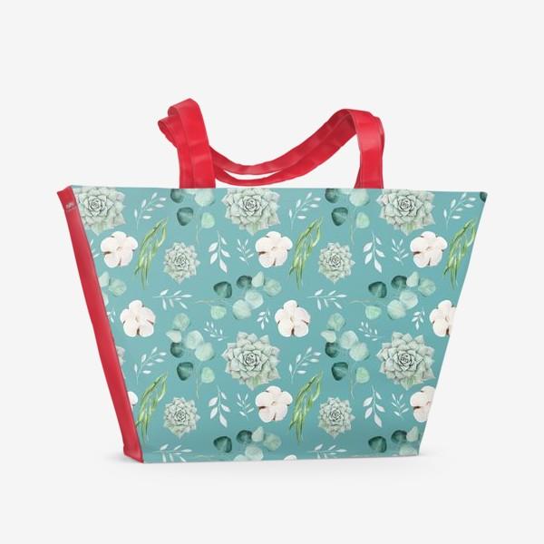 Пляжная сумка «Хлопок, эвкалипт и суккуленты на изумрудном»