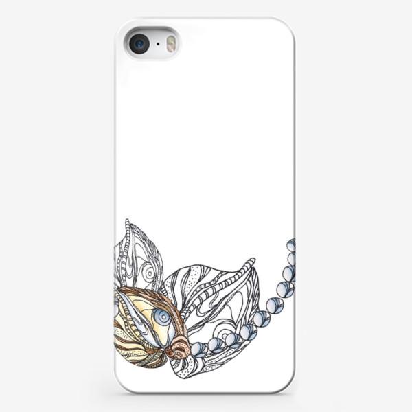 Чехол iPhone «Ракушки и жемчуг, морские сокровища, акварель, графика»