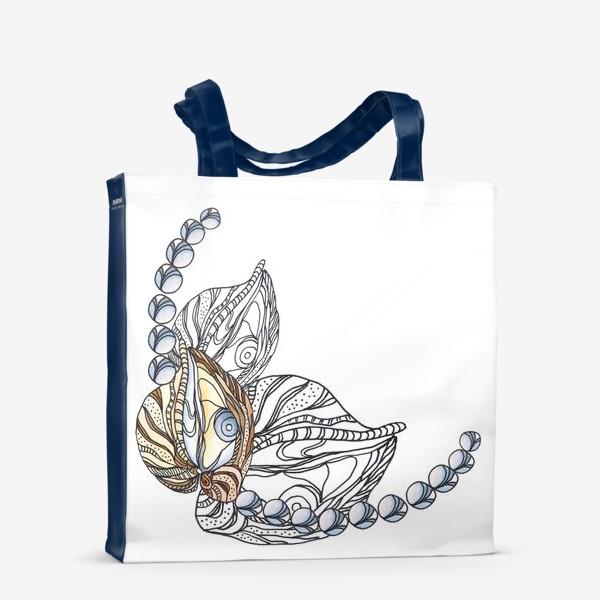 Сумка-шоппер «Ракушки и жемчуг, морские сокровища, акварель, графика»