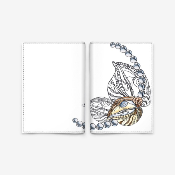 Обложка для паспорта «Ракушки и жемчуг, морские сокровища, акварель, графика»