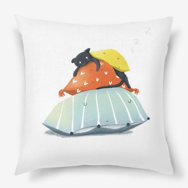 Подушка «Спящий котик без забот»