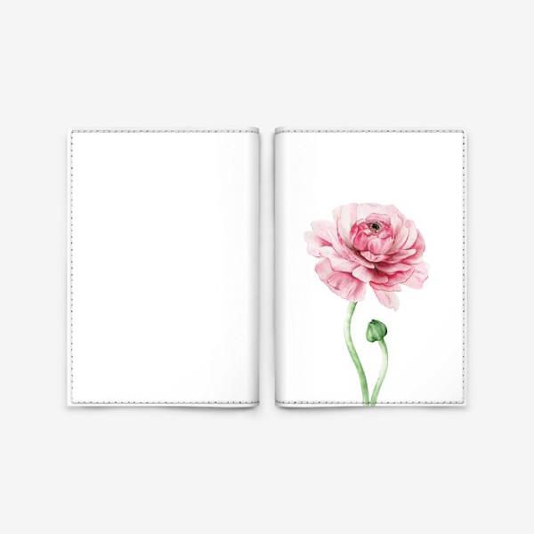 Обложка для паспорта «Розовый ранункулюс »