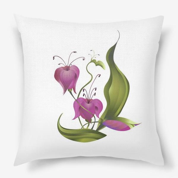 Подушка «Весенние розовые цветы »