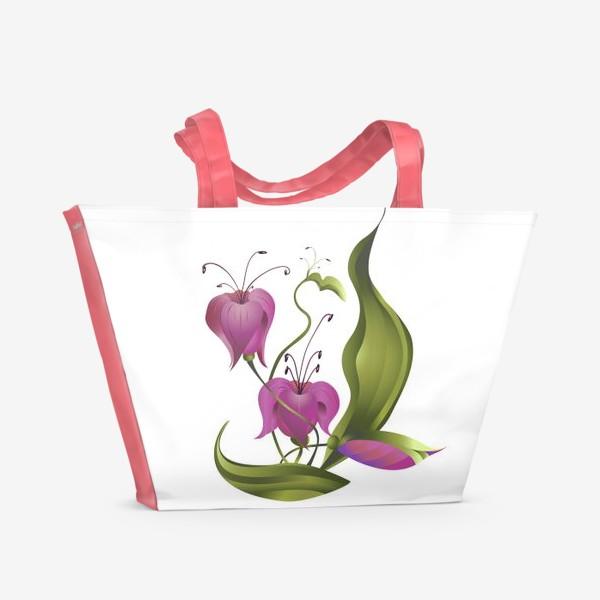 Пляжная сумка «Весенние розовые цветы »