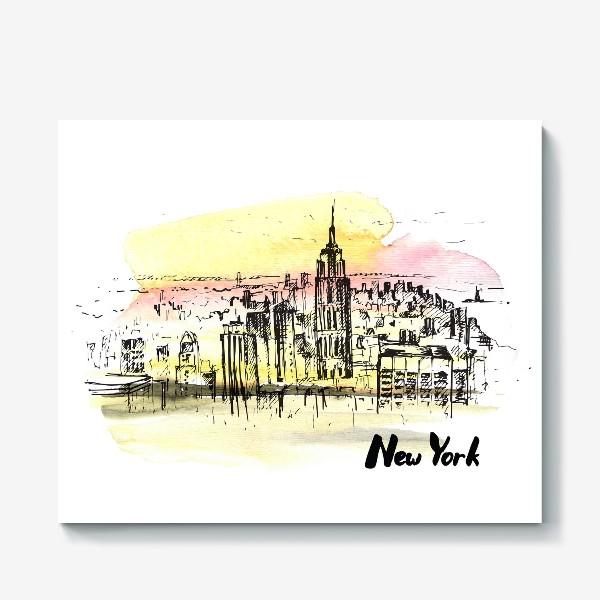 Холст «Нью-Йорк. Акварель и тушь»